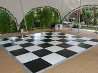 Black and white dance floor in marquee