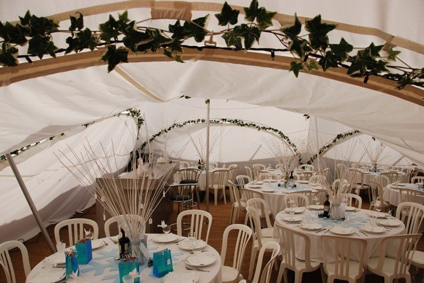 Capri Marquees showing fairy lights and ivy decoration