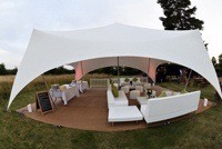 Sofas, low tables and cubes for use in marquees