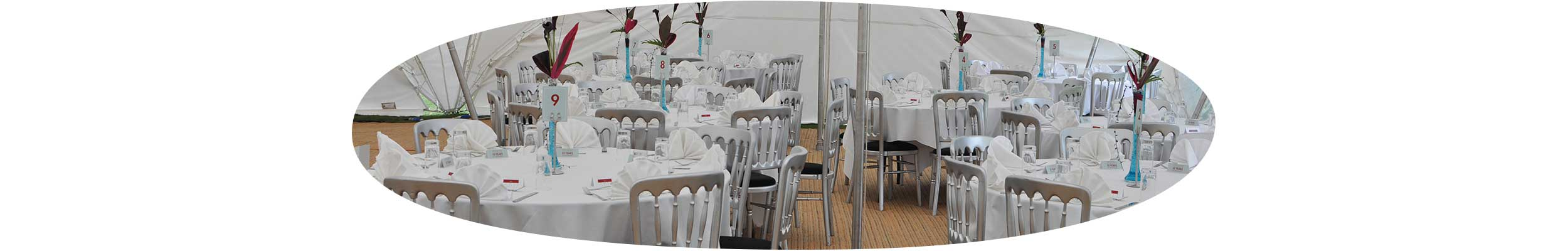 Hire chairs, tables, other furnishings, accessories and equipment suitable for any of our marquees