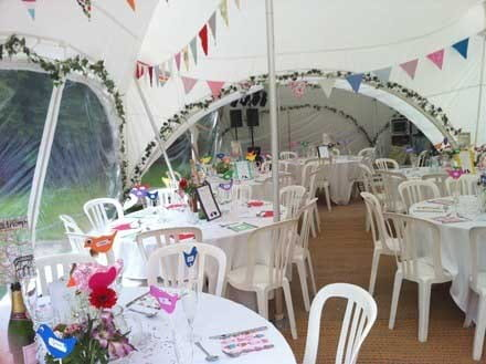 Wedding reception in a Garden Marquee in Henley on Thames, Oxfordshire